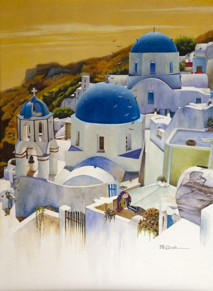 Mary Dove – Blue Domes of Santorini Greek Islands